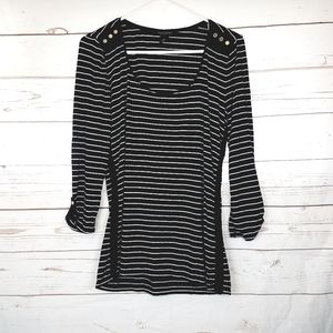 White House Black Market  3/4 Striped Shirt Medium